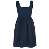 Navy Anchors And Spots Jacquard Dress