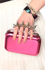 The No Apologies Spiked Finger Clutch in Fuchsia
