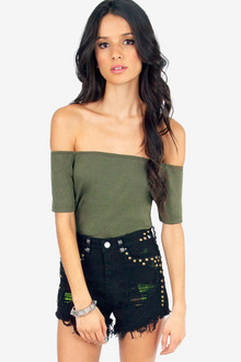Off Shoulder Basic Tee $16