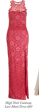 High Neck Cutaway Lace Maxi Dress
