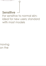 Sensitive For sensitive to normal skin; ideal for new users; standard with most models