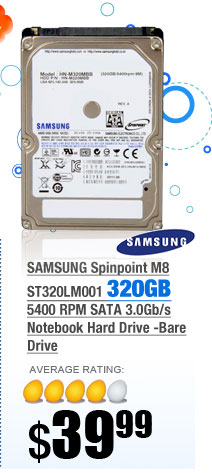 SAMSUNG Spinpoint M8 ST320LM001 320GB 5400 RPM SATA 3.0Gb/s Notebook Hard Drive -Bare Drive
