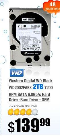 Western Digital WD Black WD2002FAEX 2TB 7200 RPM SATA 6.0Gb/s Hard Drive -Bare Drive - OEM