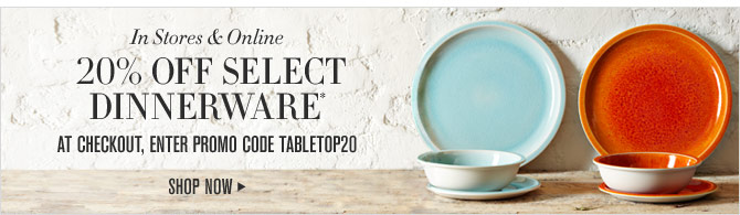 IN STORES & ONLINE - 20% OFF SELECT DINNERWARE* AT CHECKOUT, ENTER PROMO CODE TABLETOP20 - SHOP NOW