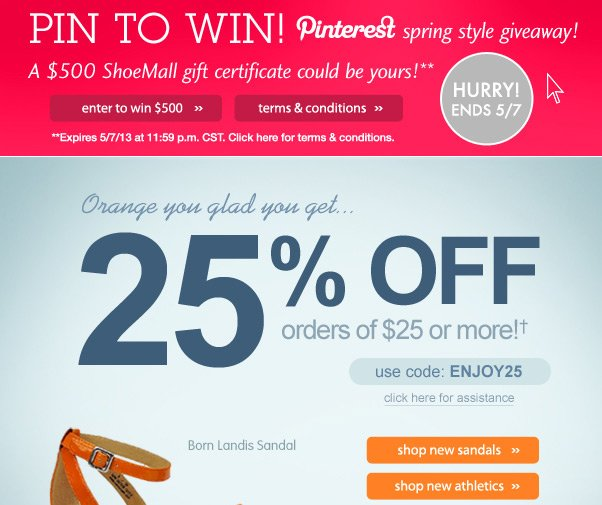 25% Off $25 + Pinterest Contest Starts NOW!
