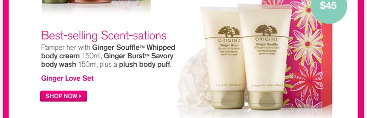 Best selling Scent sations Pamper her with ginger souffle whipped body cream 150ml ginger burst savory body wash 150ml plus a plush body puff Ginger love set SHOP NOW