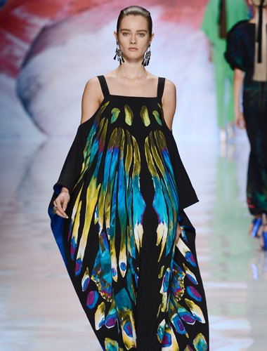ETRO Butterfly Painted Cady Gown