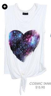 Cosmic Heart Tie Front Tank