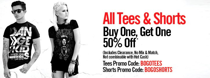 ALL TEES & SHORTS - BUY ONE, GET ONE 50% OFF*