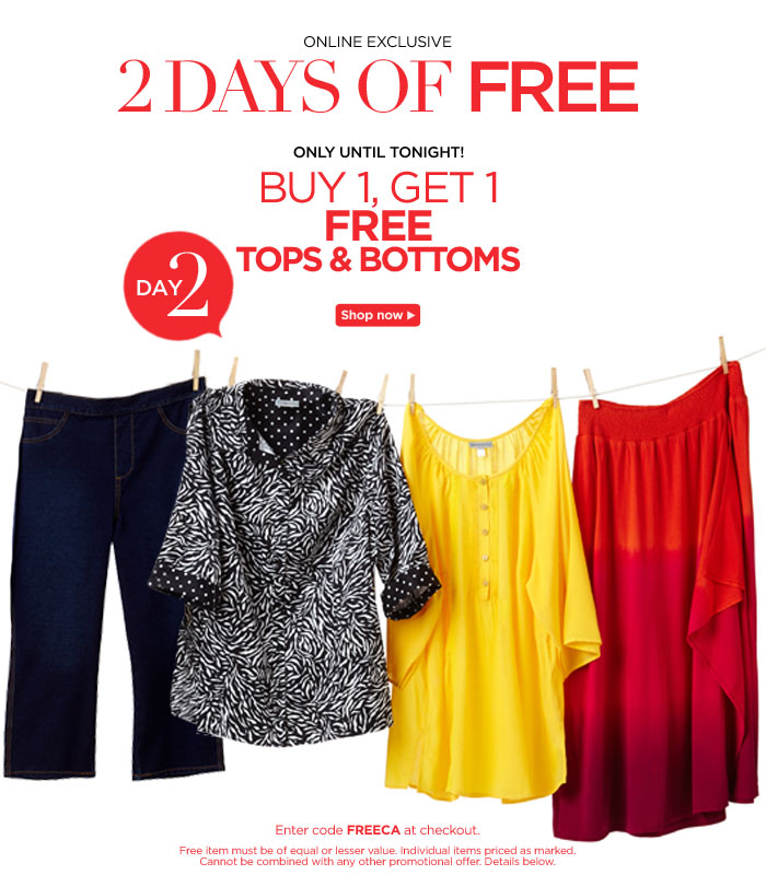 Today Only! Buy One Get One Free Tops!