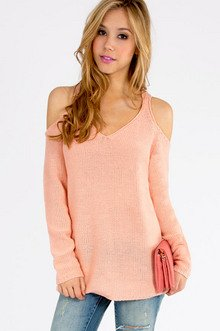 Cold Shoulder Oversized Sweater $40
