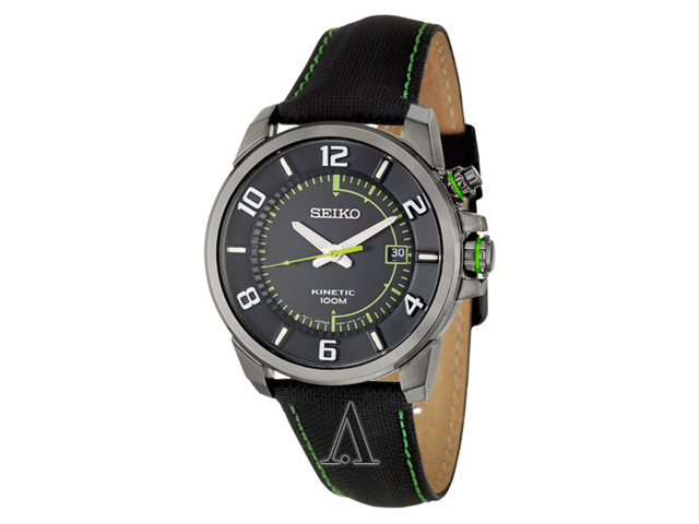 Seiko Kinetic SKA557 Men's Quartz Analog Watch - Black Band with Black Dial