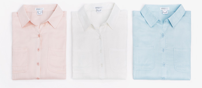 Shop this classic button-up in blush, white and pale blue.