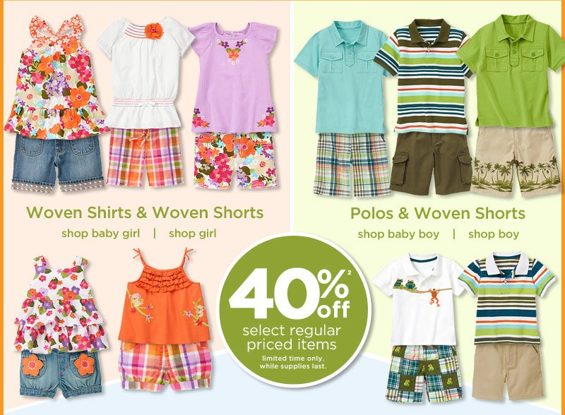 40% Off(2) select regular priced items. Limited time only. While supplies last. Woven Shirts & Woven Shorts. Polos & Woven Shorts.