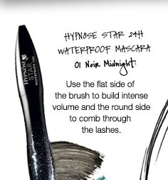 HYPNOSE STAR 24TH WATERPROOF MASCARA | 01 Noir Midnight | Use the flat side of the brush to build intense volume and the round side to comb through the lashes.