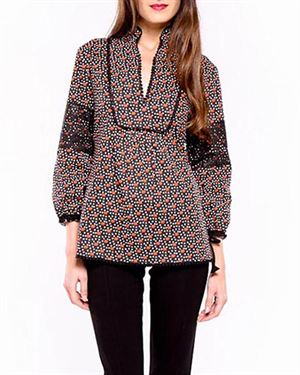 Almatrichi Lace Inlay Multicolor Printed Blouse Made In Spain