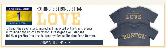 Nothing is Stronger Than Love - Boston Love Tees that raise money for the One Fund