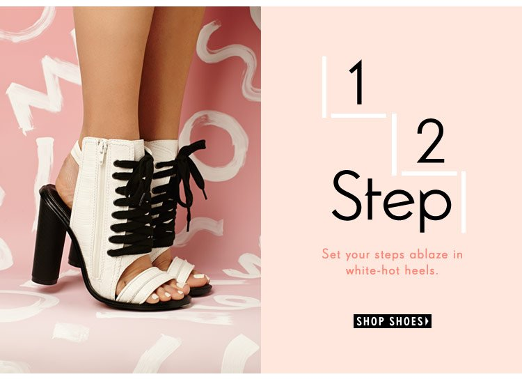 Set your steps ablaze in white-hot heels