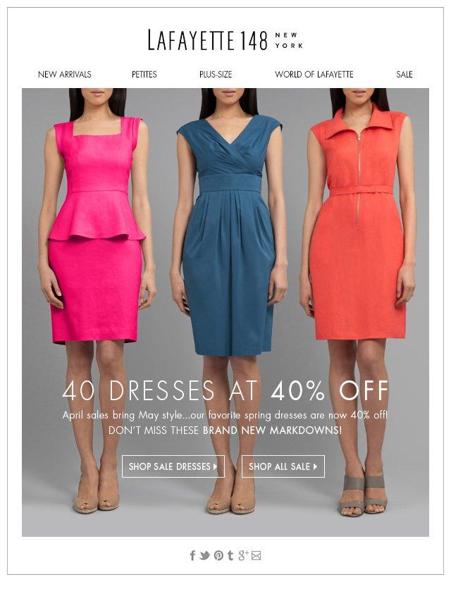 40 Dresses at 40% Off