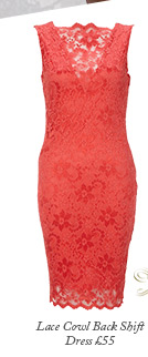 Lace Cowl Back Shift Dress