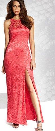 High Neck Cutaway Lace Maxi Dress