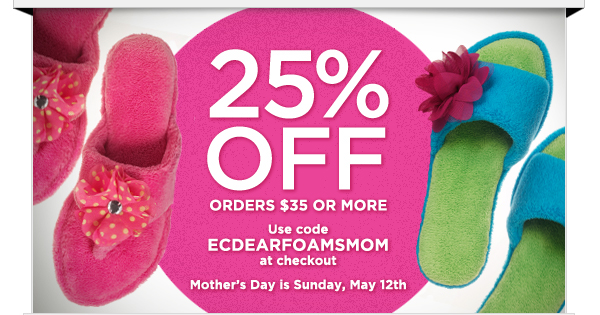 25% OFF orders $35 or more!  Use code ECDEARFOAMSMOM at checkout