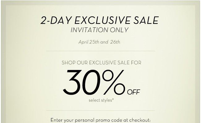 2-day exclusive sale
