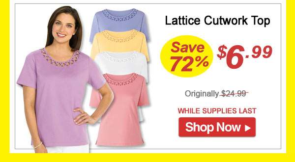 Lattice Cutwork Top - Save 72% - Now Only $6.99 Limited Time Offer