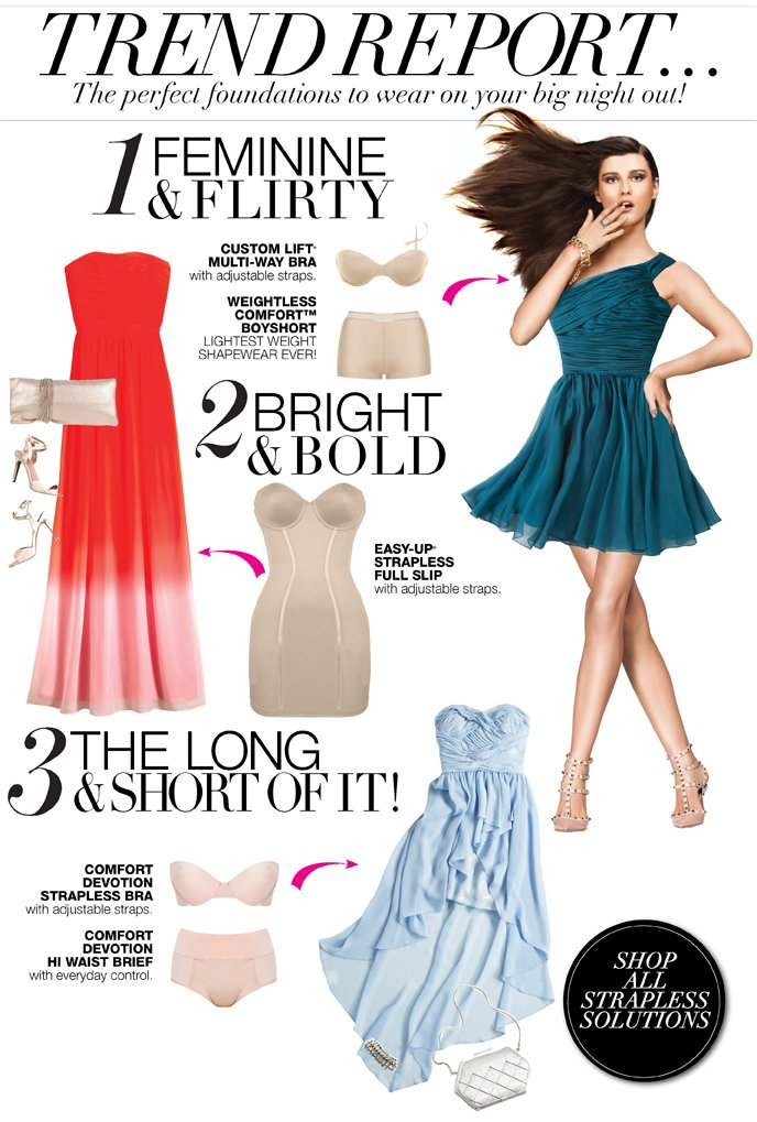 Trend Report... The Perfect Foundations to wear on your big night out. Multi-way Bra & Boyshort, Full Slip or Strapless Bra & Hi-Waist Brief