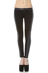 The Faux Leather & Ponte Paneled Pant in Re-Tweet