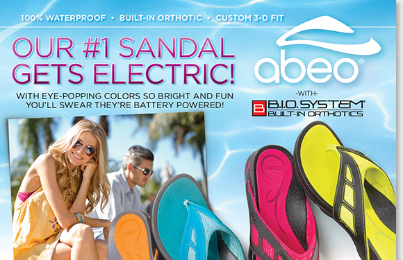 Shop the fun new ABEO B.I.O.system 'Alarys' waterproof sandals in eye-popping electric colors, and experience the revolutionary custom 3-D fit comfort of our #1 sandals featuring built-in orthotics. Find the best selection online and in-stores now at The Walking Company.