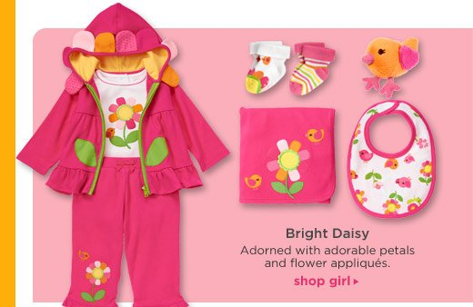 Bright Daisy. Adorned with adorable petals and flower appliques. Shop Girl