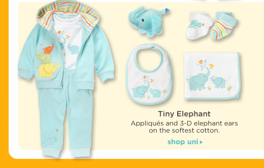 Tiny Elephant. Appliques and 3-D elephant ears on the softest cotton. Shop Uni.