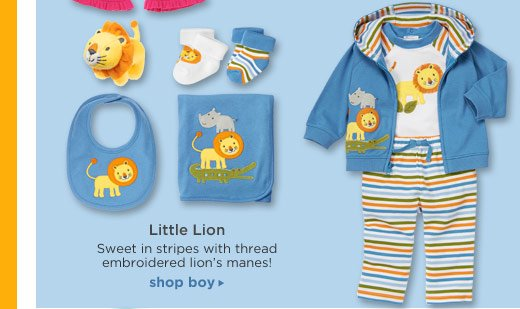 Little Lion. Sweet in stripes with thread embroidered lion's manes! Shop Boy.