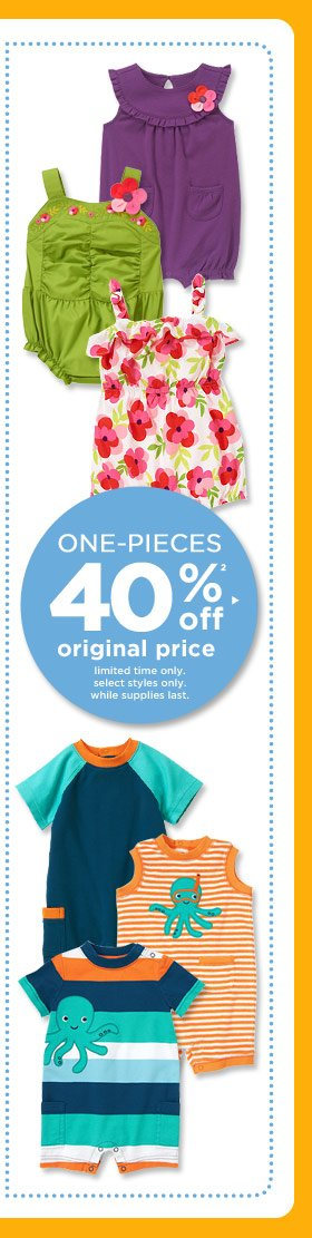 One-Pieces 40% Off(2) Original Price. Limited time only. Select styles only. While supplies last.