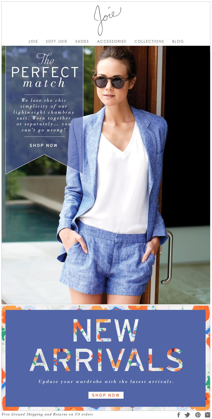 The PERFECT match We love the chic simplicity of our lightweight chambray suit. Worn together or seperately...you can't go wrong! SHOP NOW