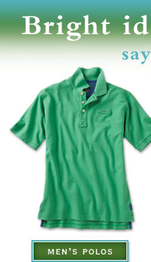 Bright ideas for summer— say hello to color.     Men's Polos
