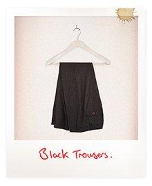 Black Stretch Wool Ankle Grazer Trousers