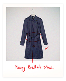 Navy Belted Mac