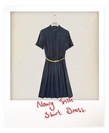 Navy Belted Silk Shirt Dress