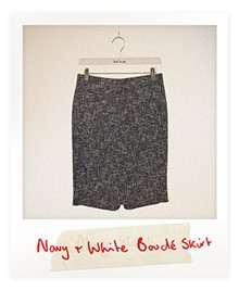 Navy And White Bouclé Pencil Skirt