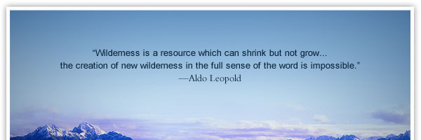 """""""Wilderness is a resource which can shrink but not grow... the creation of new wilderness in the full sense of the word is impossible.""""   —Aldo Leopold"""