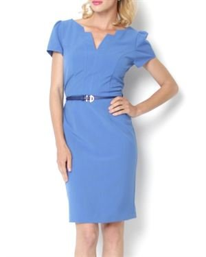 P&S Split Neck Belted Dress