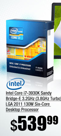 Intel Core i7-3930K Sandy Bridge-E 3.2GHz (3.8GHz Turbo) LGA 2011 130W Six-Core Desktop Processor
