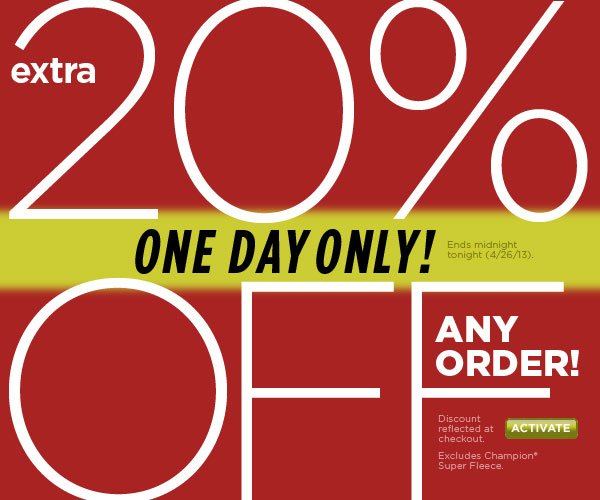 Extra 20% Off Any Order,Today Only! SHOP NOW!