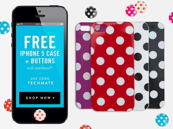 Free iPhone 5 Case + Buttons with purchase