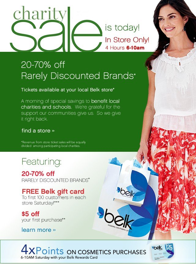Charity Sale In Store Only! 6-10am Saturday April 27th. Learn More.