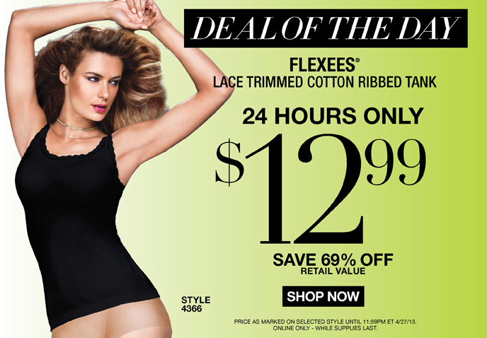 Deal of the Day: Flexees Lace Trimmed Cotton Ribbed Tank Style 4366 - 24 Hours Only - $12.99 - Save 69% Off Retail Value