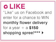 LIKE 'Like' us on Facebook and enter for a chance to WIN monthly flower delivery for a year + a $150 shopping spree!