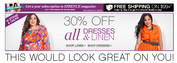 30% off All Dresses & Linen